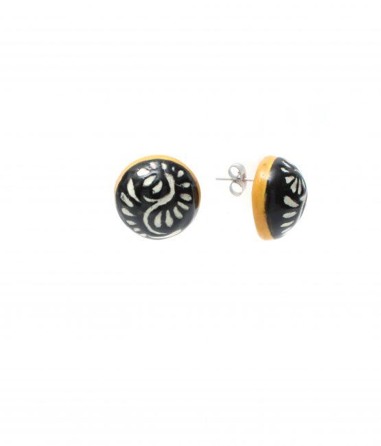 Aretes pegado negro filo amarillo acero inoxidable