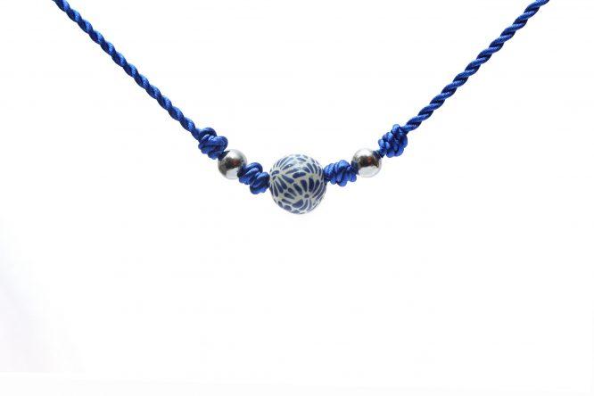 collar bola chica azul plumeado grande de acero inoxidable