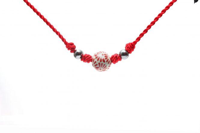 collar bola chica rojo plumeado chico de acero inoxidable