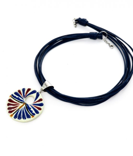Collar azul en acero inoxidable