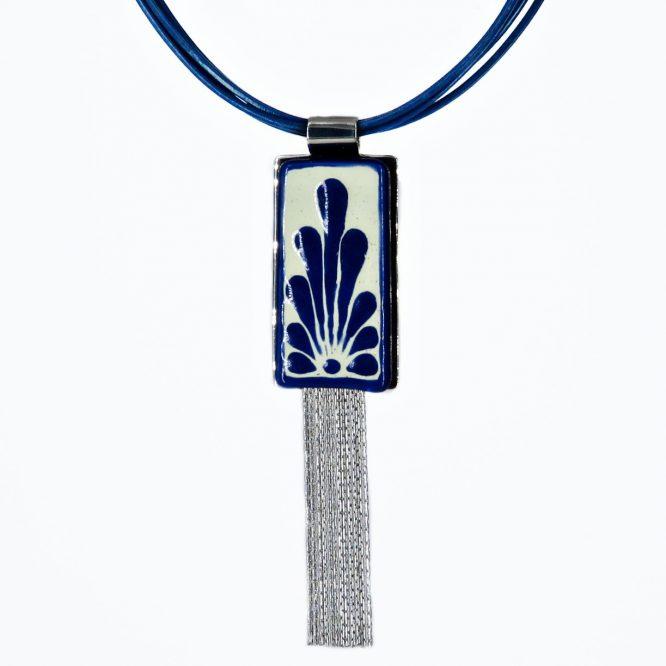 collar rectangular en azul plumeado grande de acero inoxidable