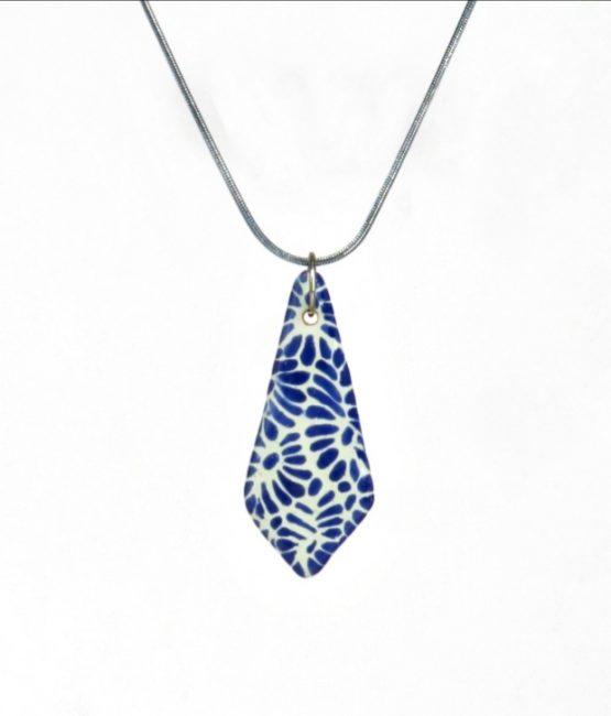 Collar cadena azul plumeado chico en acero inoxidable