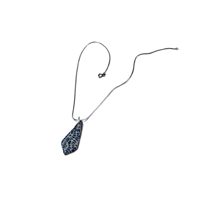 collar azul marino cadena acero inoxidable