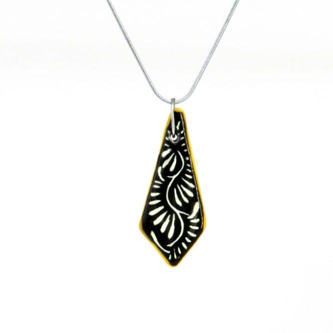 Collar cadena negro filo amarillo en acero inoxidable