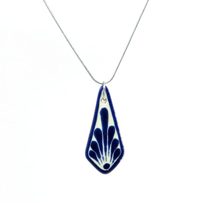Collar cadena azul plumeado grande en acero inoxidable