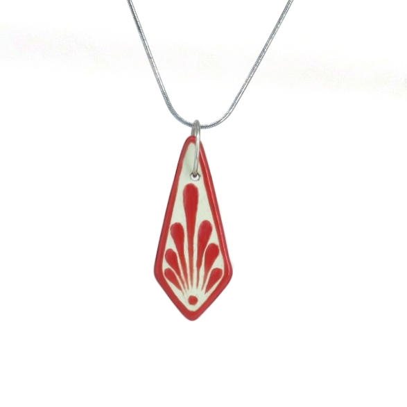 Collar cadena rojo plumeado grande en acero inoxidable