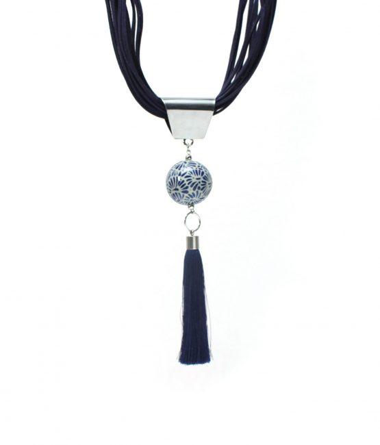 Collar gamuza azul plumeado chico en acero inoxidable