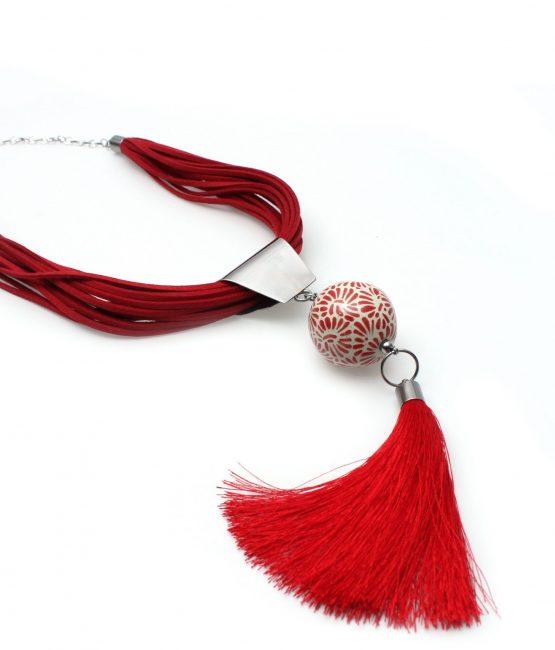Collar gamuza rojo plumeado chico en acero inoxidable