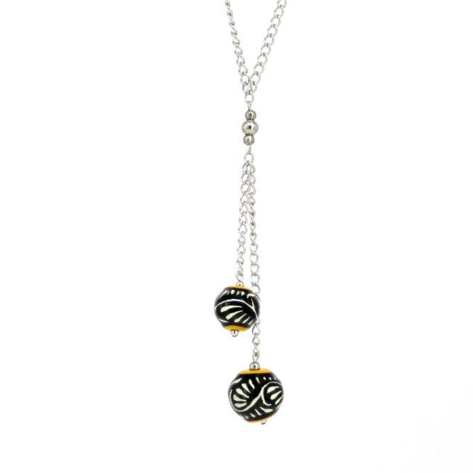 Collar cadena larga negro filo amarillo en acero inoxidable