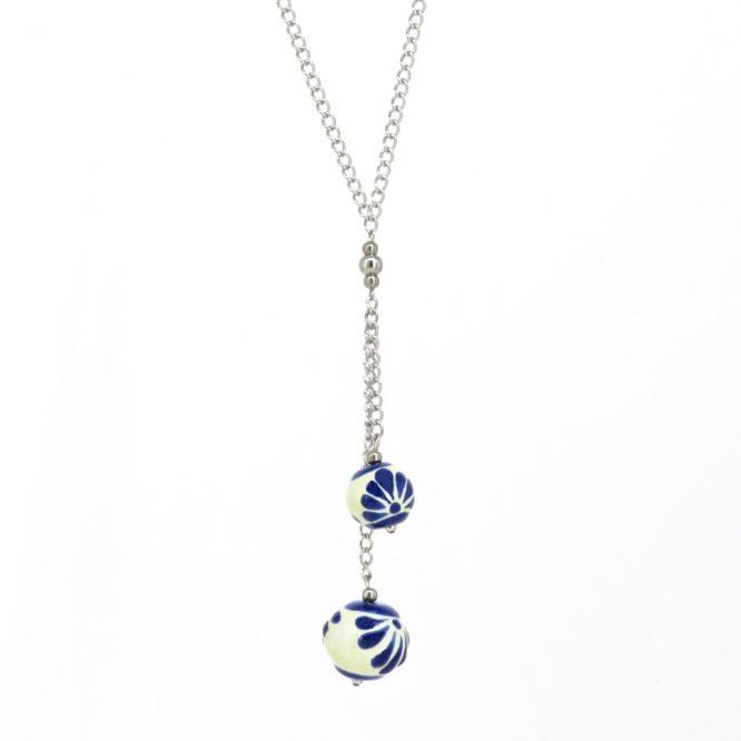 Collar cadena larga azul plumeado grande en acero inoxidable