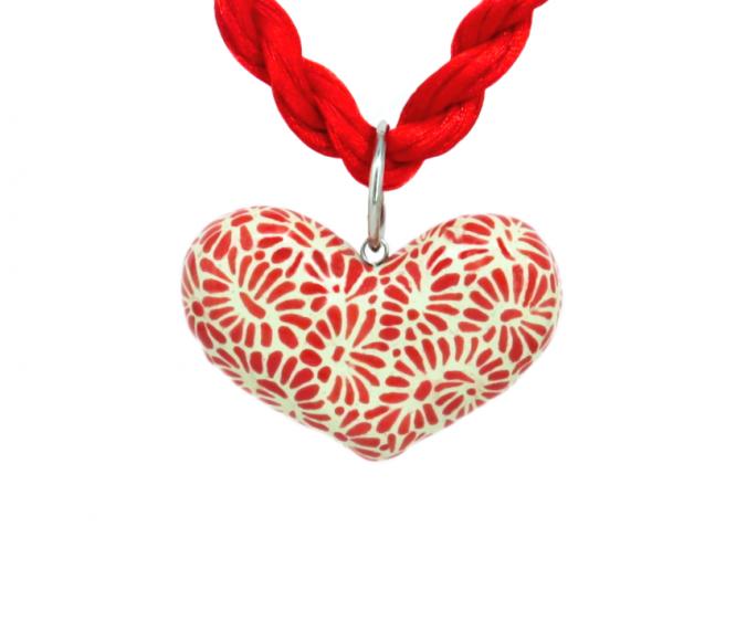 Collar corazón rojo plumeado chico en acero inoxidable