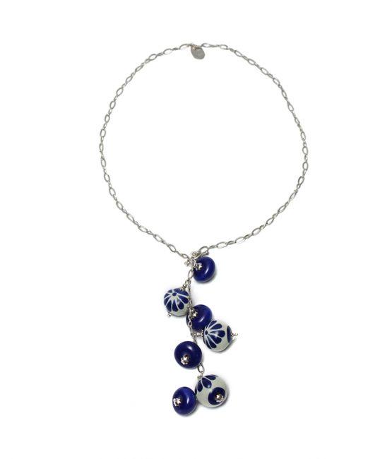 Collar largo azul en plata 925
