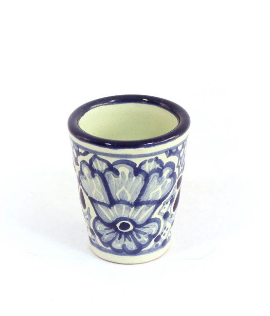 Tequilero vaso cerámica en azul estilo talavera libre de Plomo.