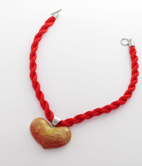 Collar corazón rojo en acero inoxidable