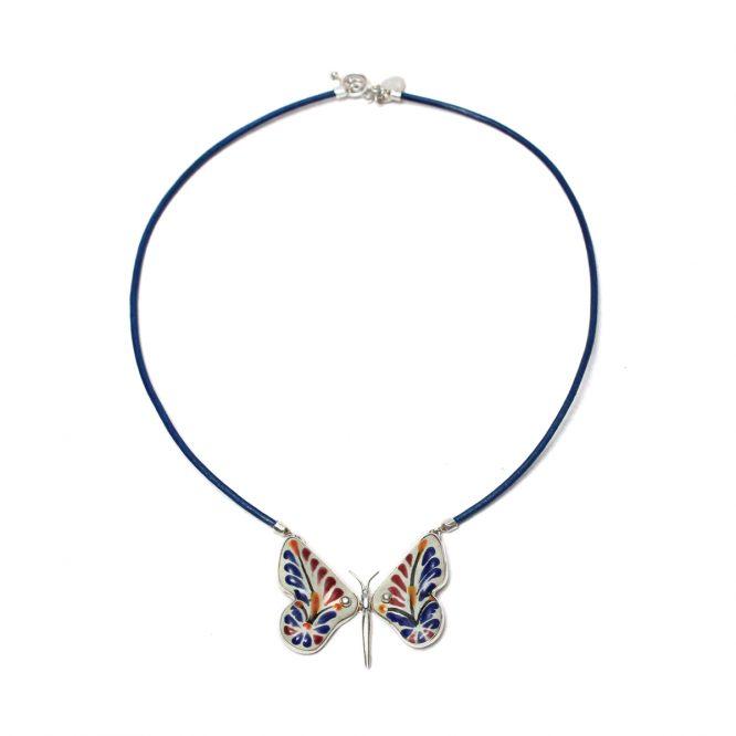 Collar mariposa azul y vino en plata 925