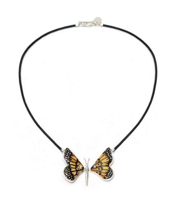 Collar mariposa naranja y negro en plata 925