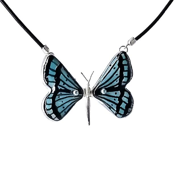 collar mariposa plata 925 azul turquesa con piel