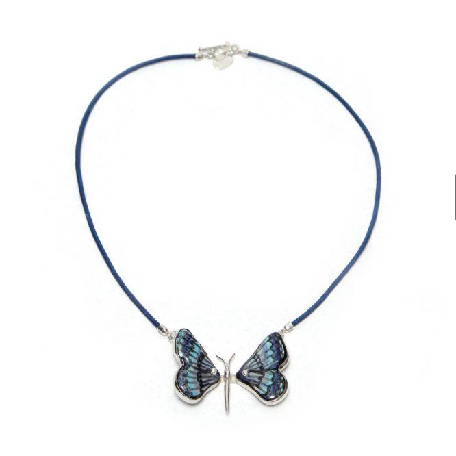 Collar mariposa azul y negro en plata 925