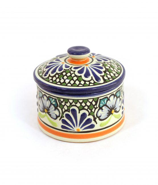 Alhajero de cerámica en colores estilo talavera libre de Plomo.