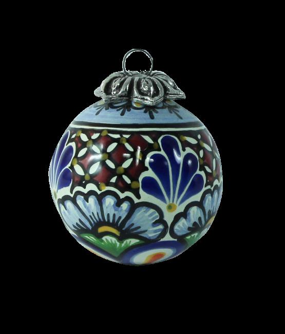 Esfera redonda de cerámica en colores estilo talavera libre de Plomo.