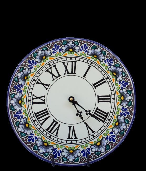 Reloj plano de cerámica en colores estilo talavera libre de Plomo