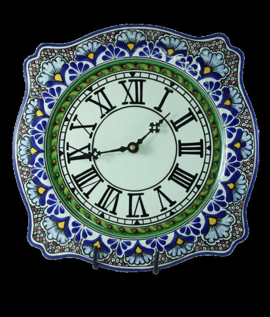 Reloj imperial de cerámica en colores estilo talavera libre de Plomo