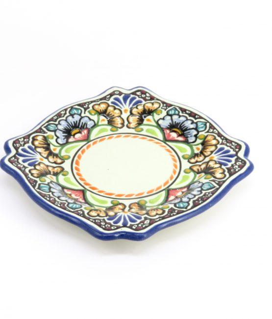 Plato imperial de cerámica en colores estilo talavera libre de Plomo