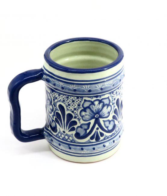 Tarro Barril cerámica en azul estilo talavera libre de Plomo.