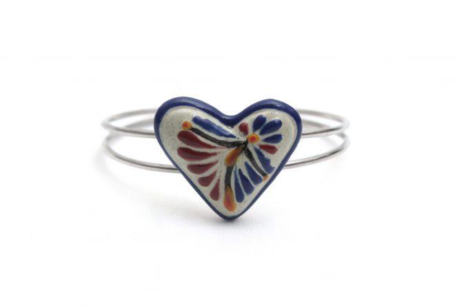 Pulsera corazón azul con vino acero inoxidable