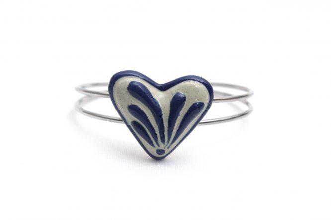 Pulsera corazón azul plumeado grande acero inoxidable