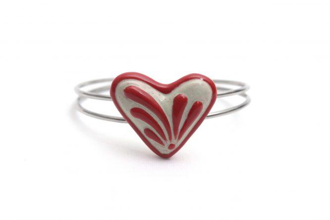 Pulsera corazón rojo plumeado grande acero inoxidable
