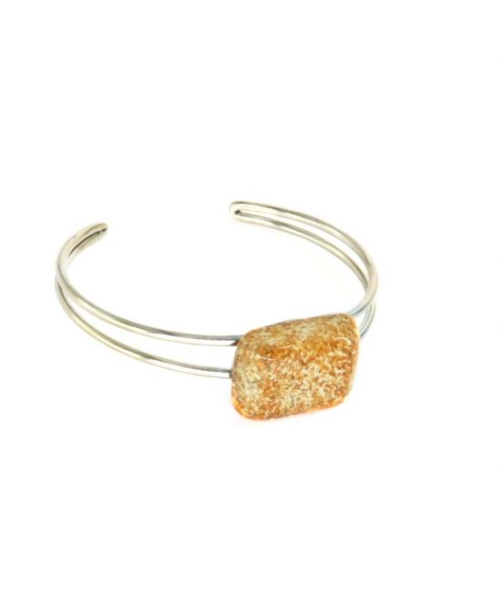 Pulsera rectangular café acero inoxidable