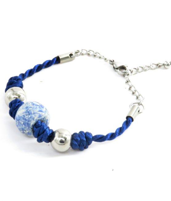 Pulsera nudos azul acero inoxidable