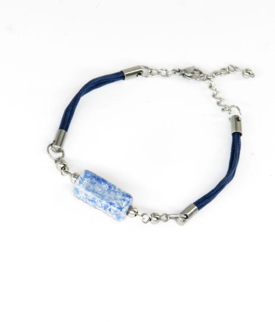 Pulsera con cordones azul acero inoxidable