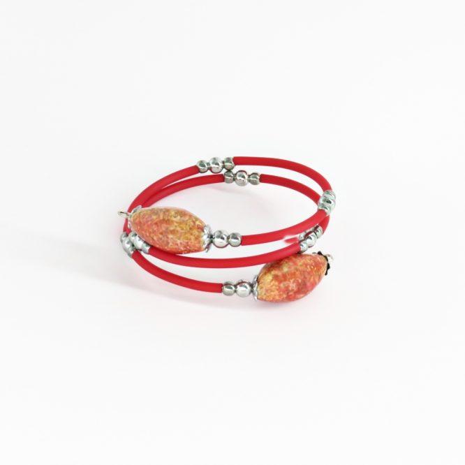 Pulsera espiral rojo acero inoxidable