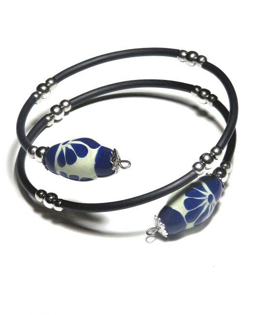 Pulsera espiral azul plumeado grande acero inoxidable