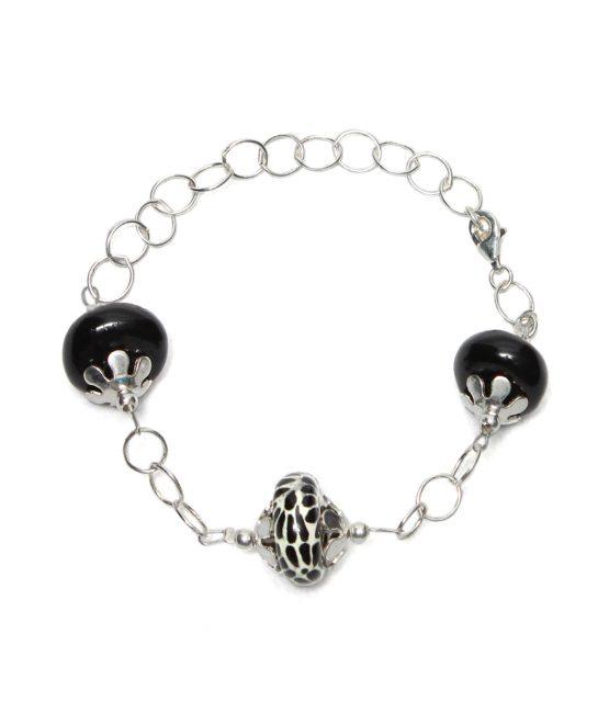 Pulsera de cadena negra en plata 925