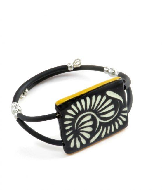 Pulsera doble caucho negro filo amarillo acero inoxidable