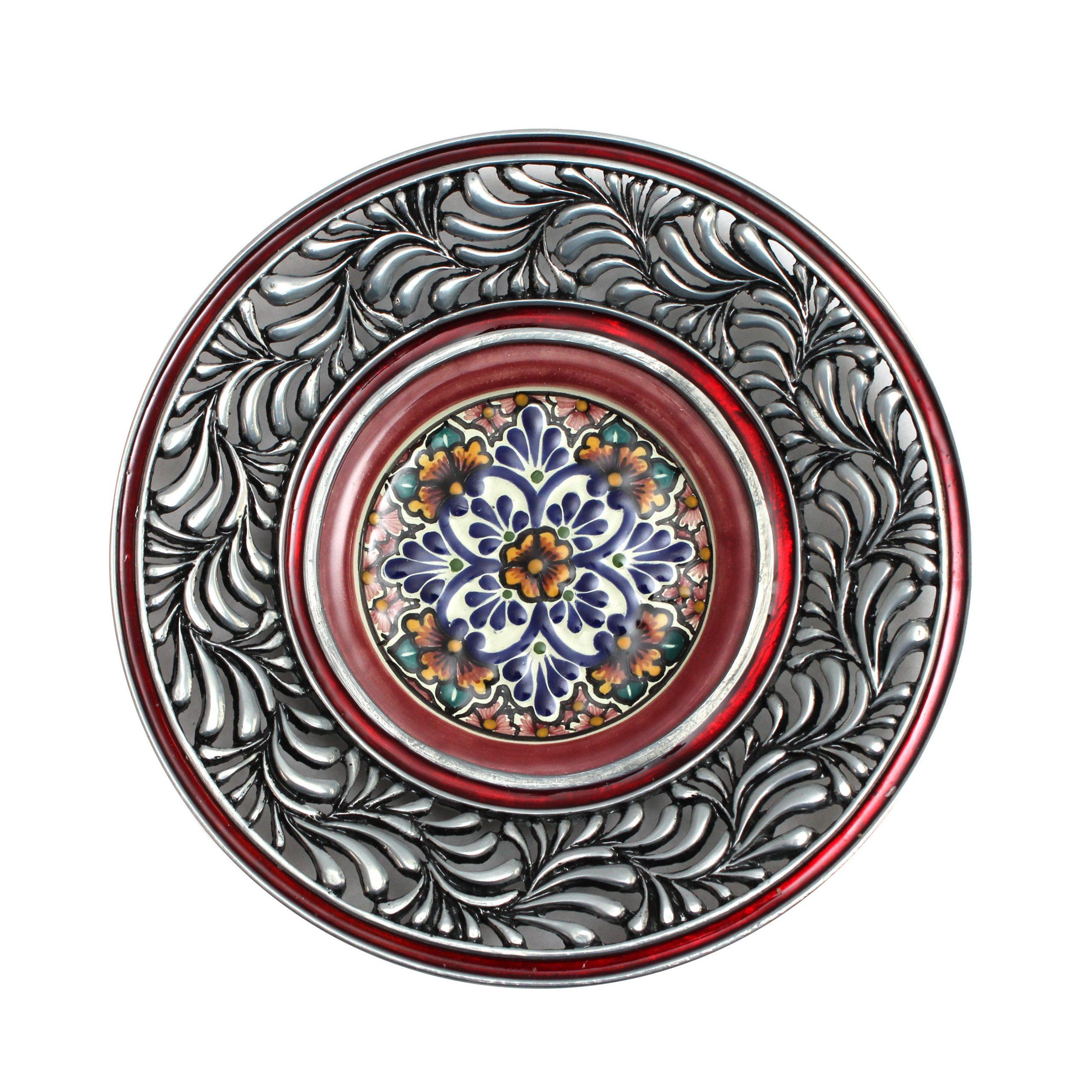 plato plumeado rojo ceramica tipo talavera